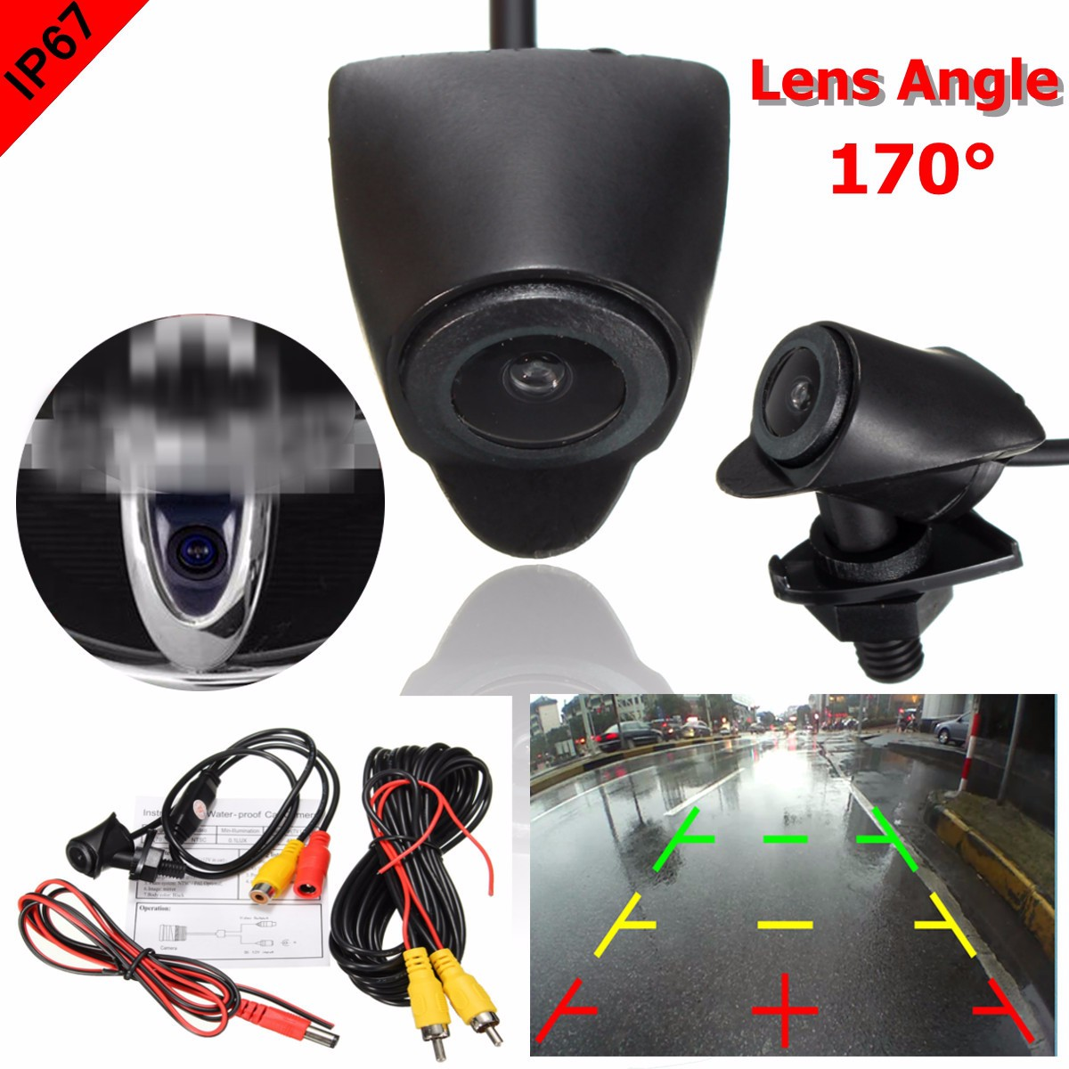 CCD Car Rear Front View Camera Lens Waterproof 170 Degree Wide Lens Angle Logo Embedded