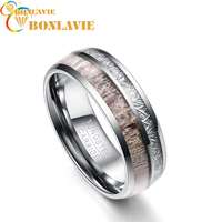 8MM Wide 100% Tungsten Carbide Steel Men Ring Silver Color Imitation Rock Stone Antler Rings Men's Jewelry Wedding Bands
