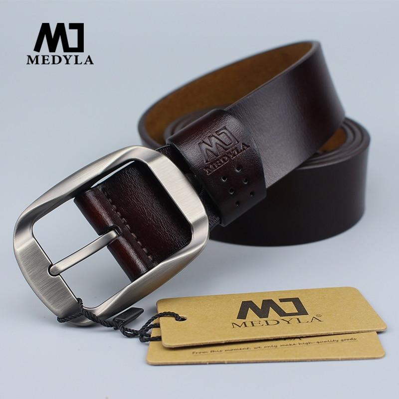 MEDYLA Fashion Men's Belt Natural Leather No Interlayer Belt For Men Sturdy Alloy Pin Buckle Casual Business Leather Belt MD03