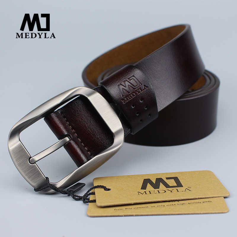 Medyla Fashion Pria Belt Kulit Alami Tidak Ada Interlayer Sabuk untuk Pria Kokoh Paduan Pin Gesper Kasual Bisnis Leather Belt MD03