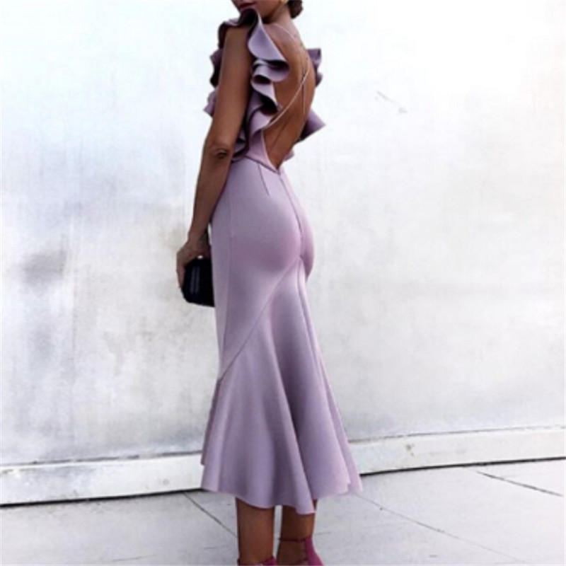 Womens Bodycon Mermaid Dress Ladies Backless Sleeveless