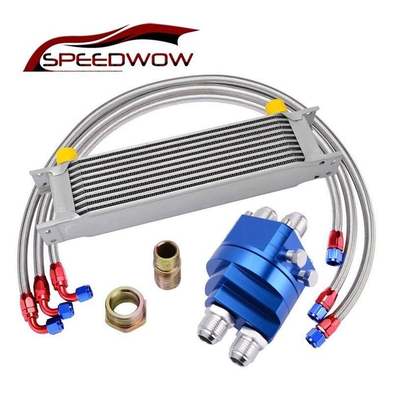 SPEEDWOW 10ROW 10AN набор гонок для масляного охладителя + Адаптер для сэндвич плиты масла + 1M/1,2 M/1,4 M нержавеющая сталь поворотный шланг торцевой час