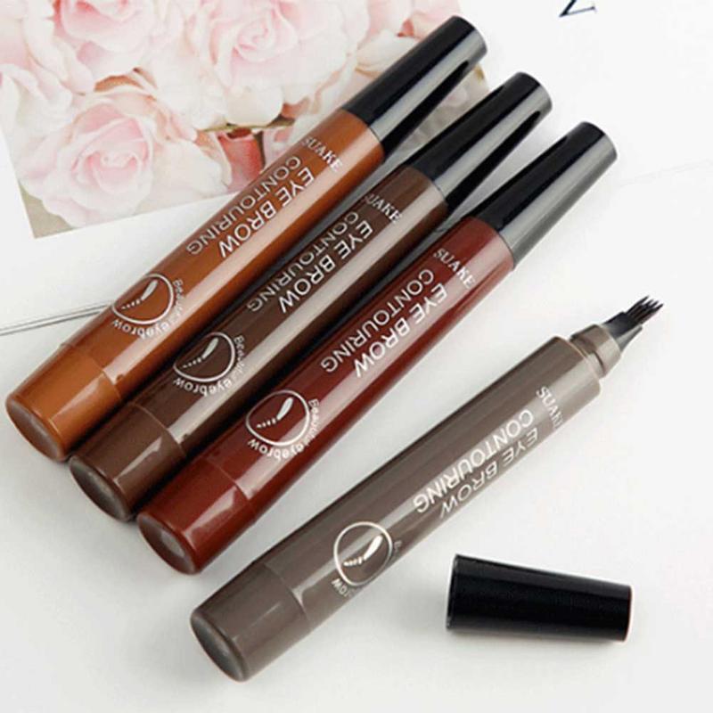 Four-headed Eyebrow Pencil Long-lasting Non-smudge Waterproof Sweat-proof Fine Liquid Eyebrow Pencil