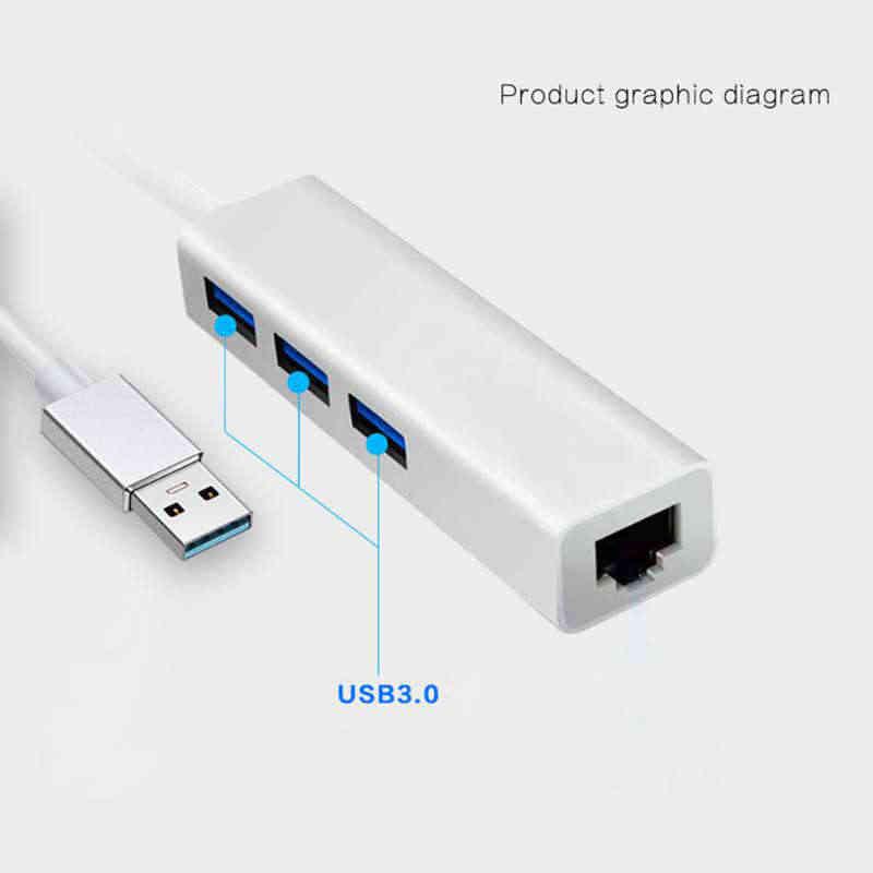 Ult-أفضل 3 منافذ Usb 3.0 Hub محول الشبكة Usb 3.0 إلى إيثرنت Rj45 Lan جيجابت محول يدعم نينتندو التبديل ل 10/100/