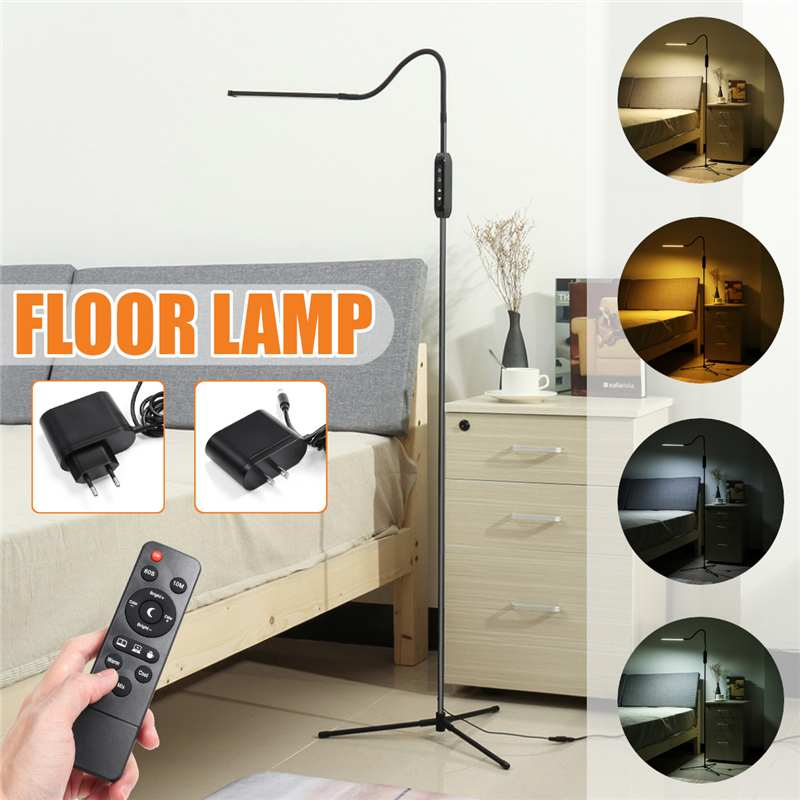 Modern EU/US Plug LED Standing Floor Lamp Reading for Living Room Bedroom with Remote Control Dimmable 12V BlackModern EU/US Plug LED Standing Floor Lamp Reading for Living Room Bedroom with Remote Control Dimmable 12V Black