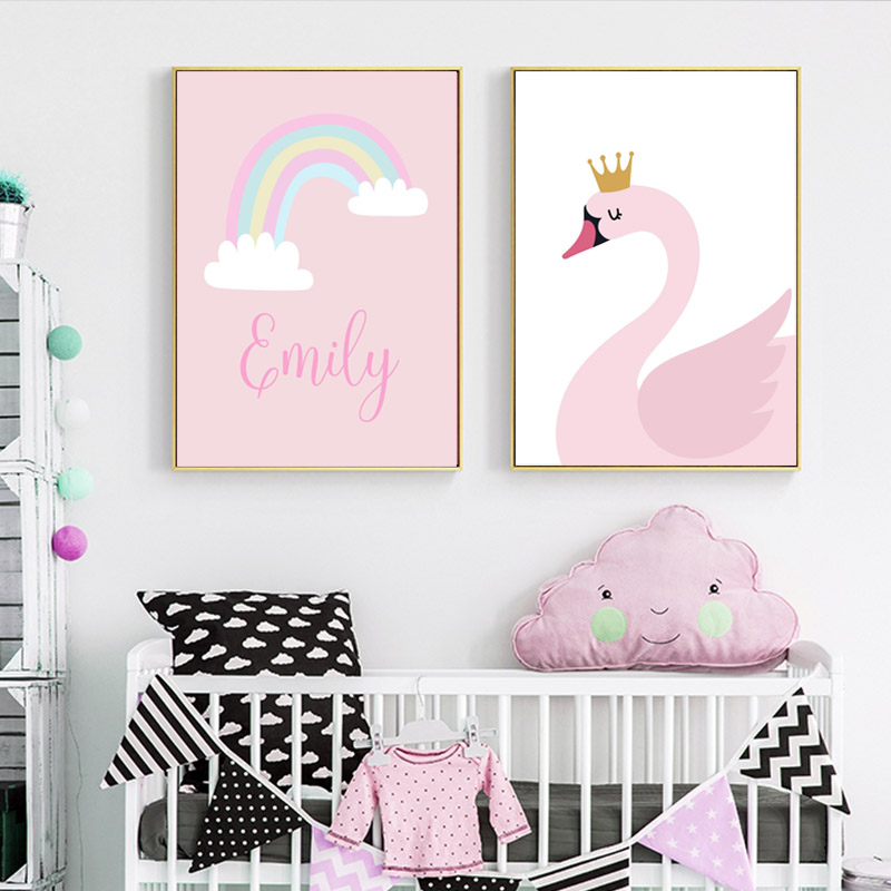 Custom Name Cartoon Swan Wall Art Canvas Painting Unicorn Nursery Nordic Posters Pink Wall Pictures Baby Kids Girls Room Decor