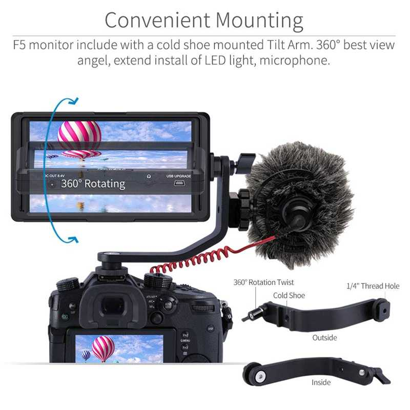 F5 5 дюймов для однообъективной цифровой зеркальной фотокамеры на камера поле мониторы Малый Full Hd 1920x1080 Ips видео Peaking фокус помочь с 4 к Hdmi 8,4 в Dc вход Outpu