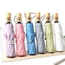 Simple Plain Wind Solid Wood Handle Vintage nan nv Tri-Fold Umbrella shang wu san Custom Logo Advertising