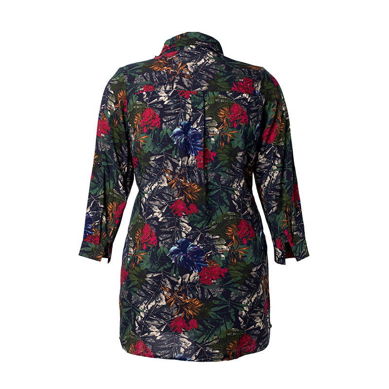 Miaoke 2019 Summer Ladies Plus Size Print Chiffon tops and blouses High Quality Clothing Fashion vintage large size Office shirt 2