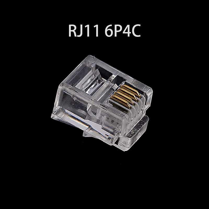 20/50/100 adet/grup RJ11 6P2C 6P4C 6P6C telefon Internet modüler tak Jack RJ11 konektörü RJ-11 kristal kafa altın kaplama 6U