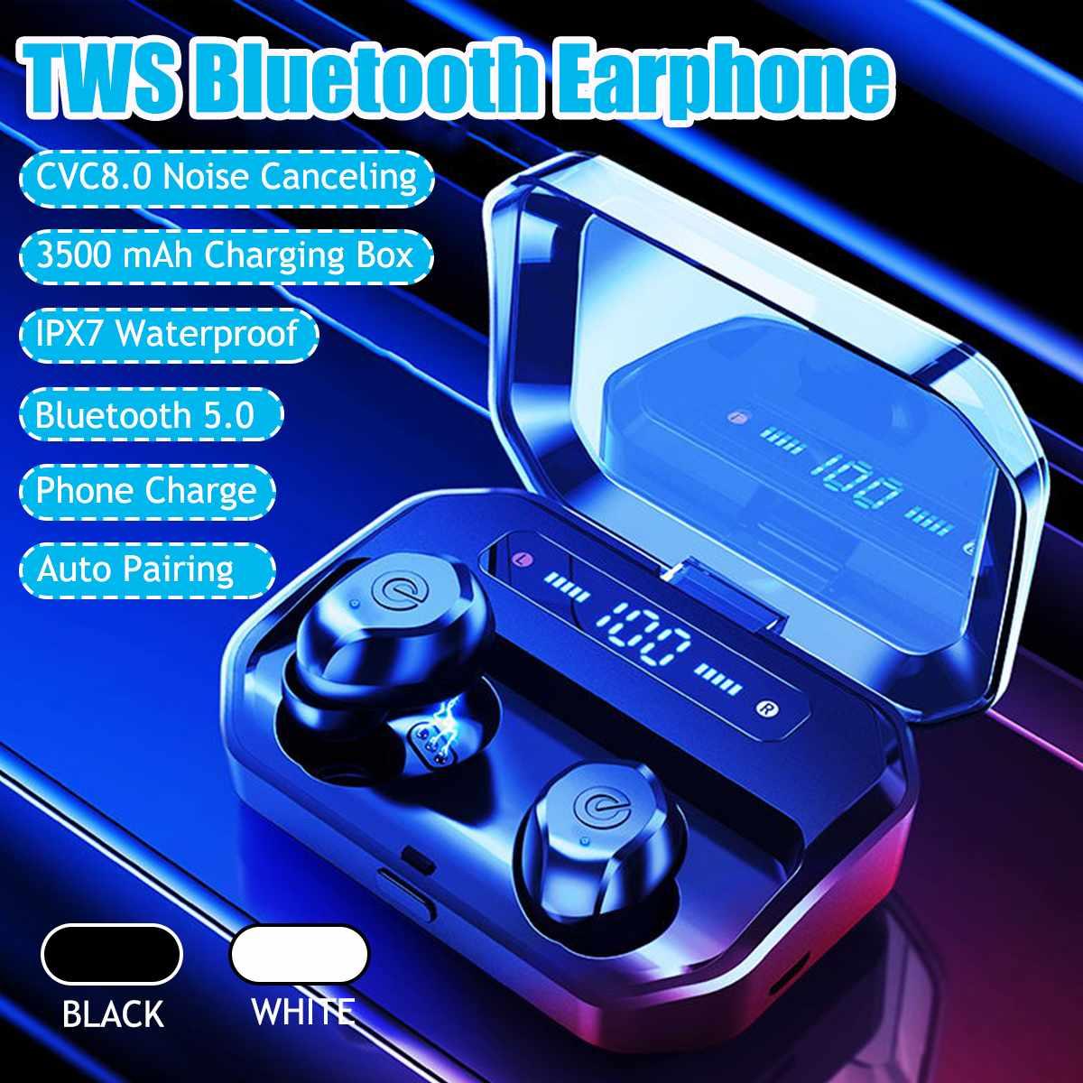 TWS CVC casque stéréo sans fil bluetooth 5.0 dans l'oreille écouteurs son HIFI avec 3500 mAh Powerbank chargeur boîte pour IOS Android