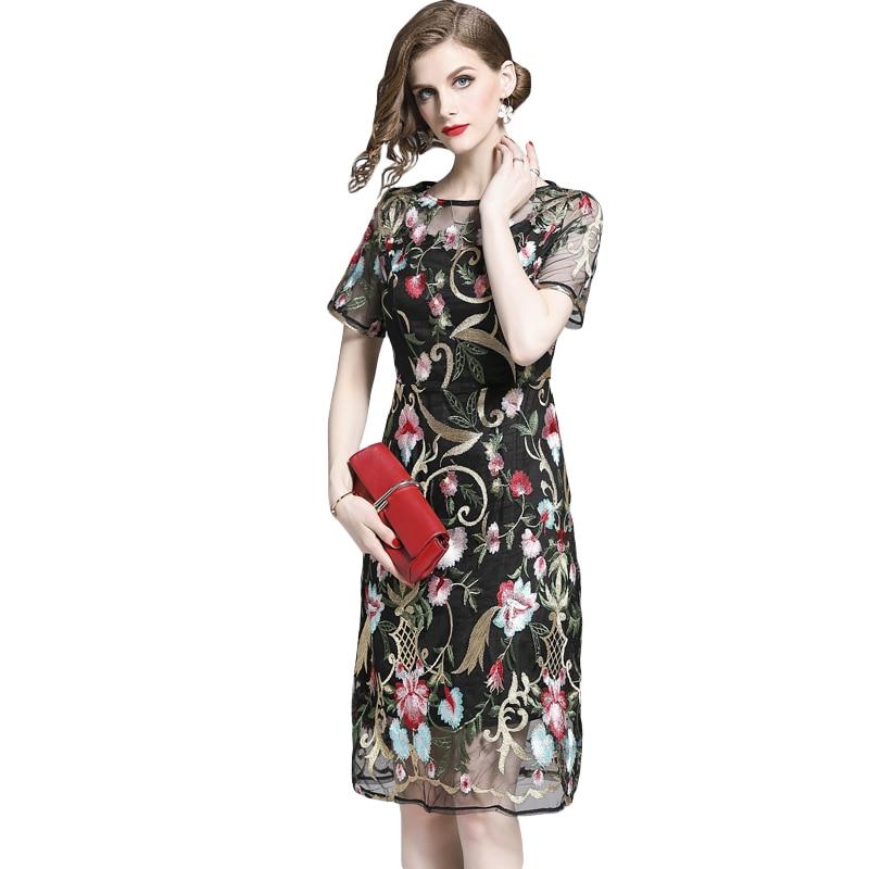 Nouveau 2019 femmes robe broderie maille imprimer robes 8511