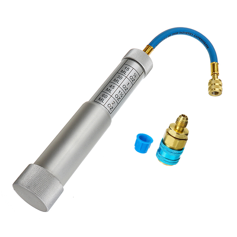 Injecteur de colorant d'huile de climatisation (2 oz) + bas R22 R134A adaptateur de coupleur rapide Injection main tourner pompe Oiler A/C injecteur d'huile