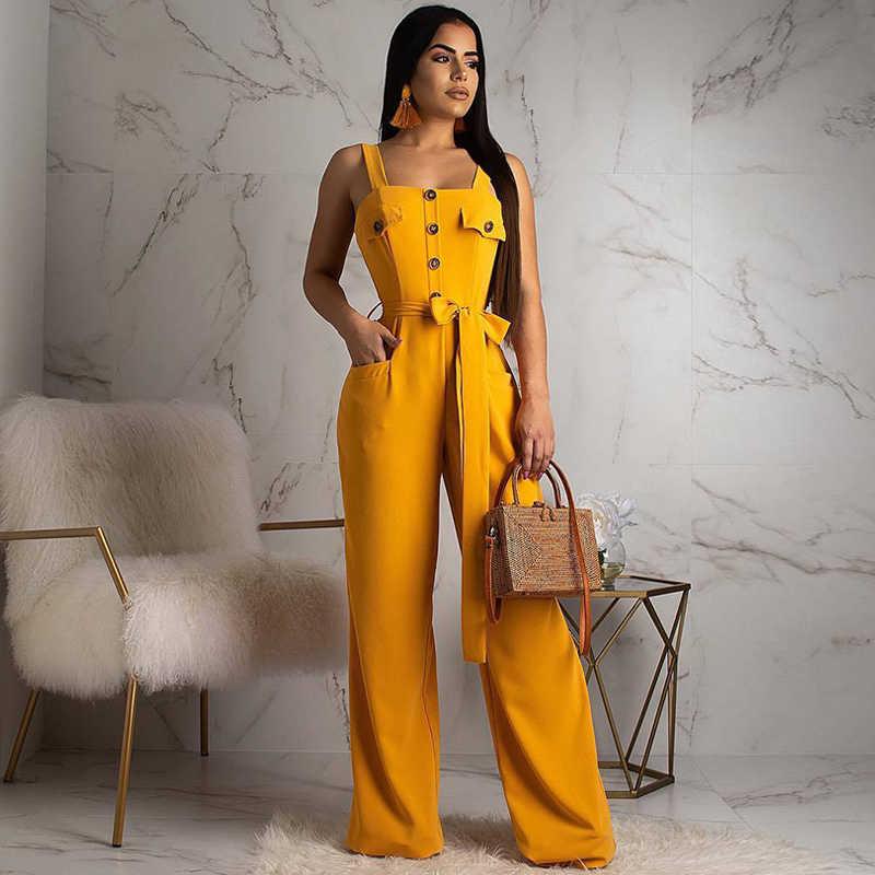 Kadın Askı Tulum Spagetti Kayışı Kemer Düğmesi Maxi Romper Geniş Bacak Uzun Pantolon Kadın Tulum Streetwear Parti Sarı Atlama