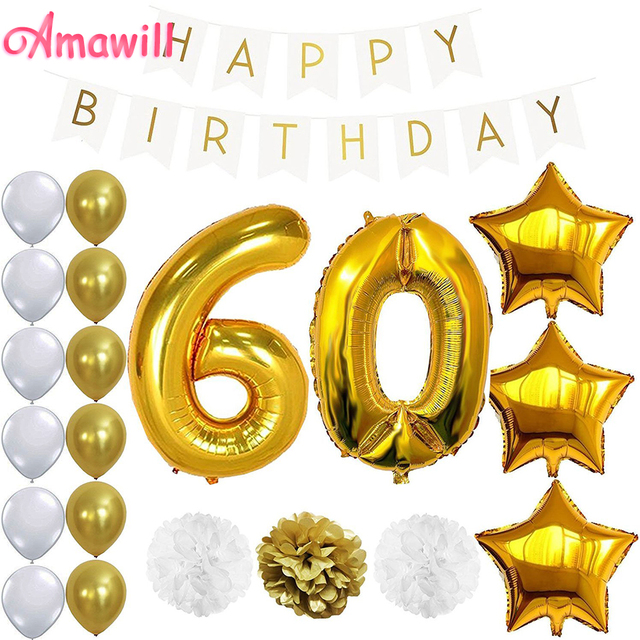 Amawill 1 Set Happy Birthday Banner Balloon For 60th Party Decoration Adult White Gold 60 Years Old Supplies 65D