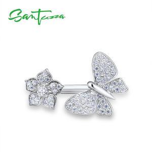 Image 2 - SANTUZZAแหวนเงิน925เงินสเตอร์ลิงGorgeousแหวนผีเสื้อสีขาวเงาCubic Zirconiaแฟชั่นเครื่องประดับ