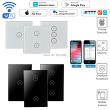 2 pcs/lot Smart light switch WIFI touch smart panel Wireless wall work with Alexa IFTTT Google home