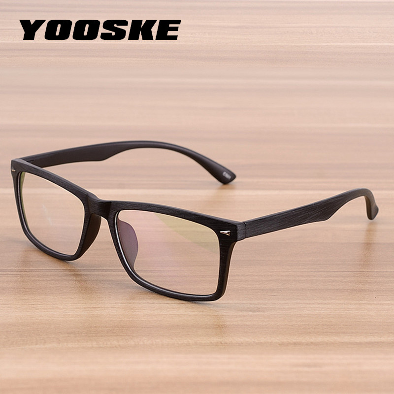 YOOSKE Men Retro Wooden Pattern Glasses Frame Women Classic Optical Spectacle Eyeglasses Fashion Style Bamboo Wood Eyewear