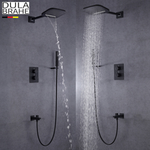цена на DULABRAHE Blacken Bathroom Shower Faucet Set Wall Mounted Rain Brass Waterfall Shower Head All Copper Bath & Shower Mixer Tap