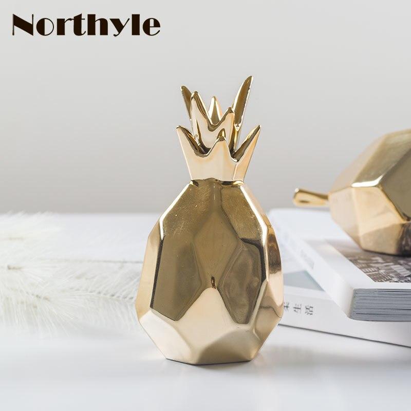 estatuilla de cerámica de piña dorada porcelana pera para regalo de - Decoración del hogar - foto 3