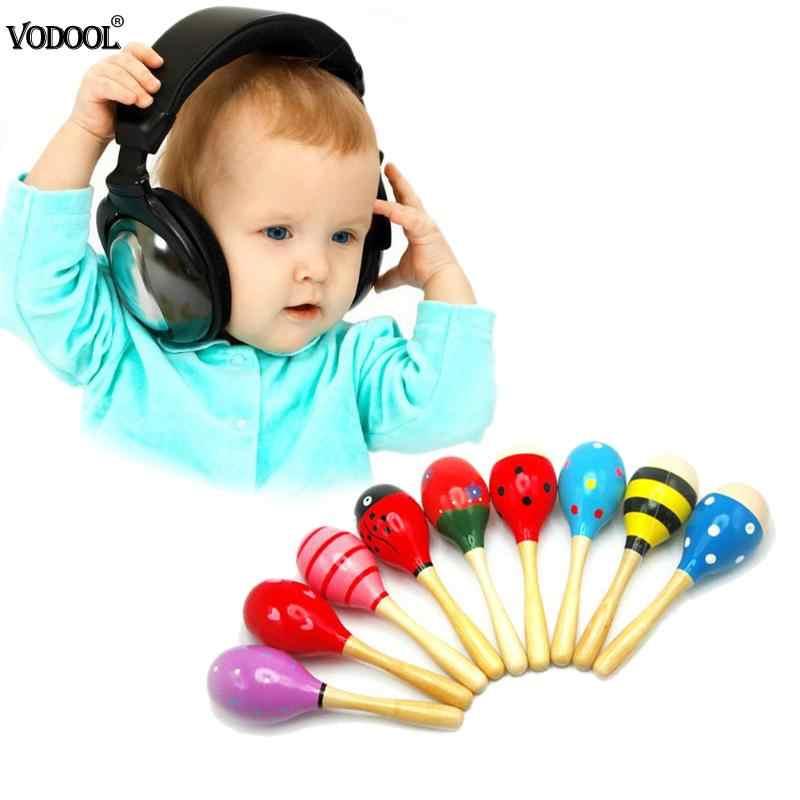 1 PC יילוד תינוק כלי צעצועי חול פטיש צעצוע ילדי קול מוסיקה עץ פטיש ידית עץ צעצועי עבור ילדים