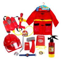 12PCS Fire Chief Costume Role Play Costume Dress Up Set Fireman Toy Children Pretend Play Toys Brave Little Educational Toy