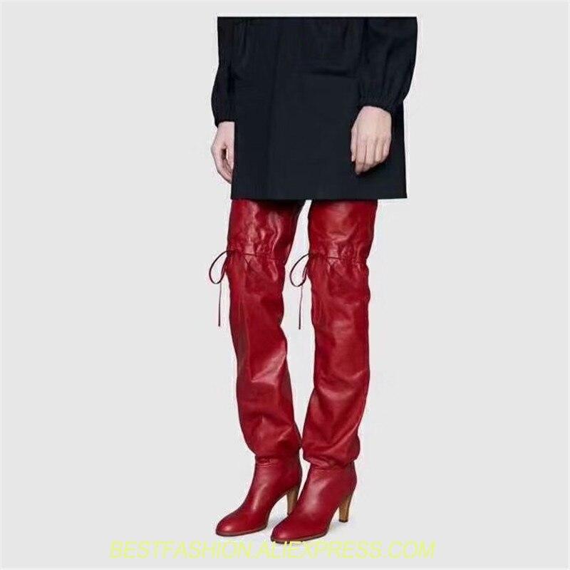 Высокие женские сапоги из натуральной кожи, цвет красный, черный, Сапоги выше колена, модные высокие сапоги на высоком каблуке, брендовая Ди