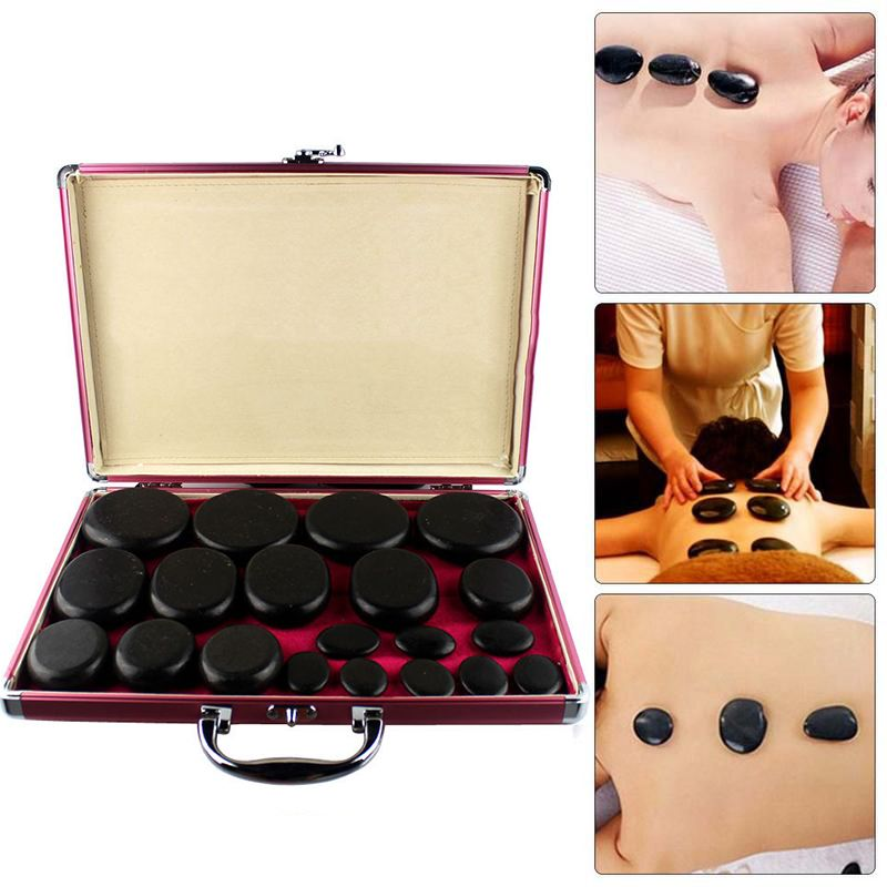 20 Pieces of Bamboo Set Energy Stone Massage Health Heater SPA Fine Oil Massage Heating Box Relaxation Automatic Temperature But