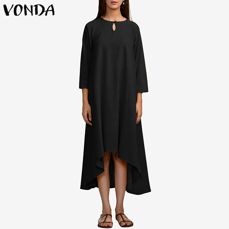 VONDA Women Party Dress 2019 Autumn Casual Loose Long Dresses Female Irregular Hem Solid Polyester Vestidos Plus Size