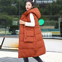 Autumn Winter Orange Black Vest Women Waistcoat New Sleeveless Down Long Cotton Vest Jacket Hooded Warm Outwear