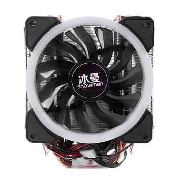 SNOWMAN 4PIN CPU cooler 6 heatpipe RGB LED Double fans cooling 12cm fan LGA775 1151 115x 1366 support Intel AMD