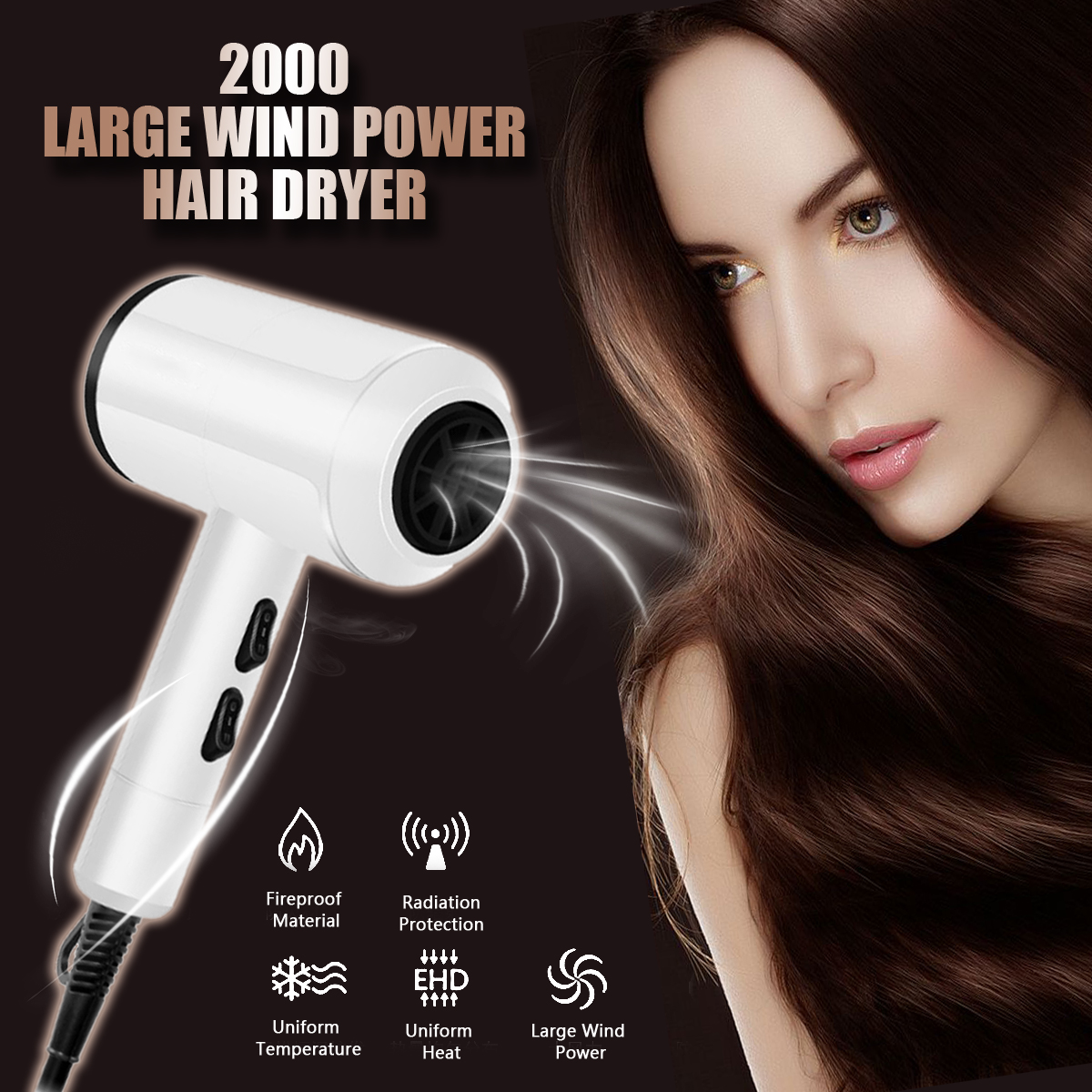 White Professional Anion Hair Dryer Large Power Hair Repairing Hairdryer Air Blower Constant Temperature Blower 2000W 220V цена и фото