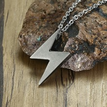 Men Silver Gray Lightning Pendant Necklace Stainless Steel Bolt Thunder Flash Charm Male Jewelry 20 -24 inch