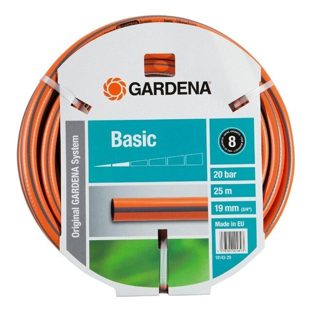 Шланг поливочный GARDENA 18143-29.000.00 (Длина 25 м, диаметр 19мм (3/4), максимальное давление 20 бар, армированный, светонепроницаем, устойчив к ультрафиолетовому излучению)
