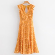 купить Women Yellow Floral Print Maxi Dress Casual Sleeveless Split Long Party Dress Summer Hollow Out Back Beach Long Dress Vestidos дешево
