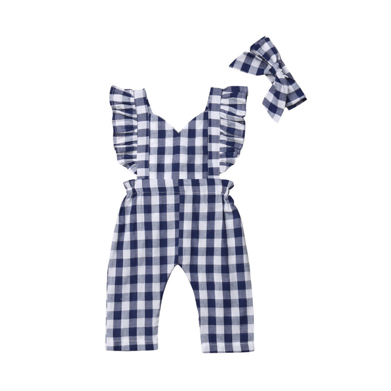 Kids Baby Girls Plaids Bib Pants   Romper   Sleeveless Jumpsuit Overalls Playsuit Headband Outfits Summer Cotton Girl Clothes 0-3T