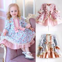 a95b32515f Lindo niños bebé niñas princesa Formal vestido Floral de encaje Bowknot  vestido de cumpleaños