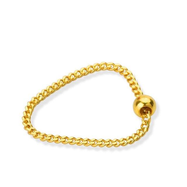 Puro 24K Anello In Oro Giallo Bead con Curb Link Anello Formato: US 5 12