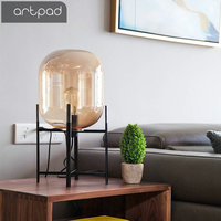 Artpad Nordic Creative Art Glass Desk Lamp Smoke Gray/Amber Lampshade E27 Edison Bulb Vintage Table Lamps Bedroom Living Room