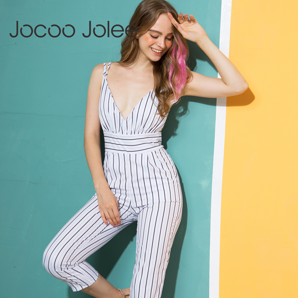 d19d43fe9f Jocoo Jolee New Jumpsuit Women Striped Clubwear V-Neck Playsuit Sleeveless  Jumper Bodycon Party Jumpsuit Female Summer Backless