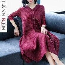 LANMREM High Quality Pleated Dresses For Women V neck Three Quarter Sleeve Loose Irregular Elastic Clothes Loose Large Size JR09