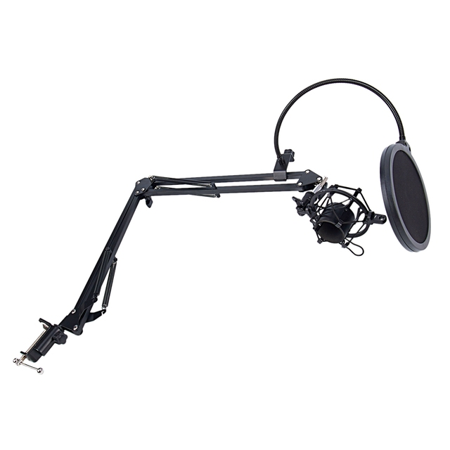 NB-35 Microphone Scissor Arm Stand and Table Mounting Clamp&NW Filter Windscreen Shield & Metal Mount Kit 2