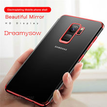 Plating Clear Soft Case For Samsung Galaxy S10 Plus S10 Lite J4 A6 A8 Plus A7 2018 S9 S8 Plus S6 S7 Edge J3 J5 J7 2017 Cover(China)