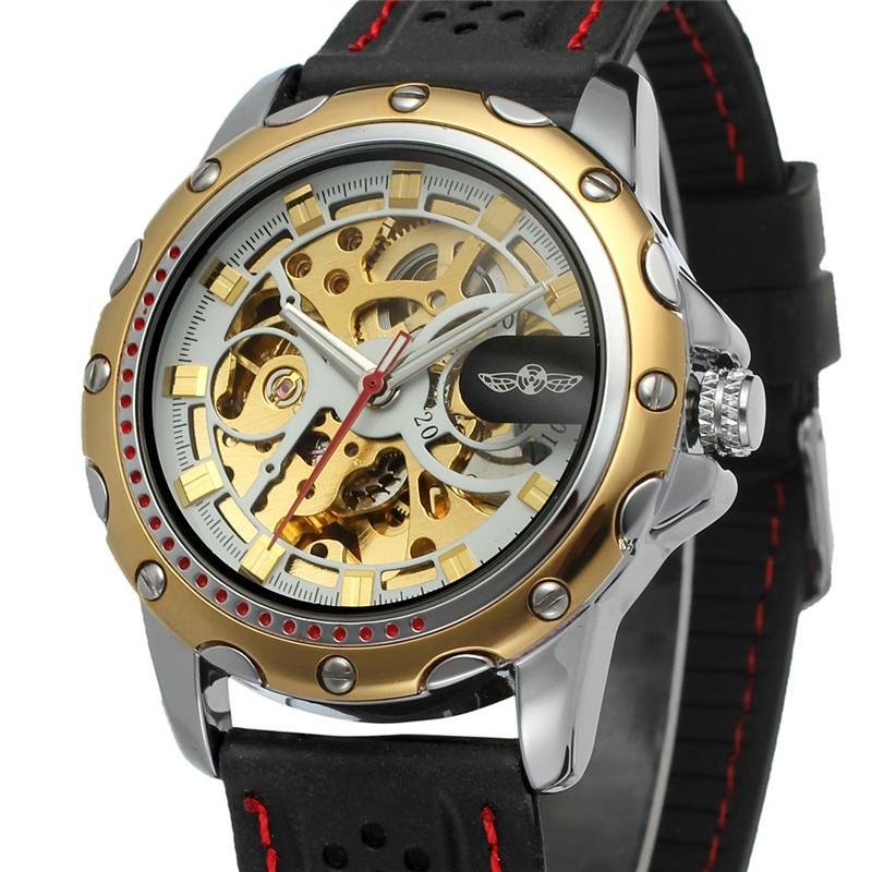 WINNER Classic Golden Skeleton Mechanical Watch Men Stainless Steel Strap Top Brand Luxury Man Watch Vip Drop Shipping Wholesale 2