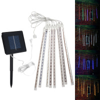 10sets 8PCS 30cm LED Strip Light Bulbs Shower Rain Lights Solar Powered Meteor Shower Waterproof Garden Light Lamp Decor