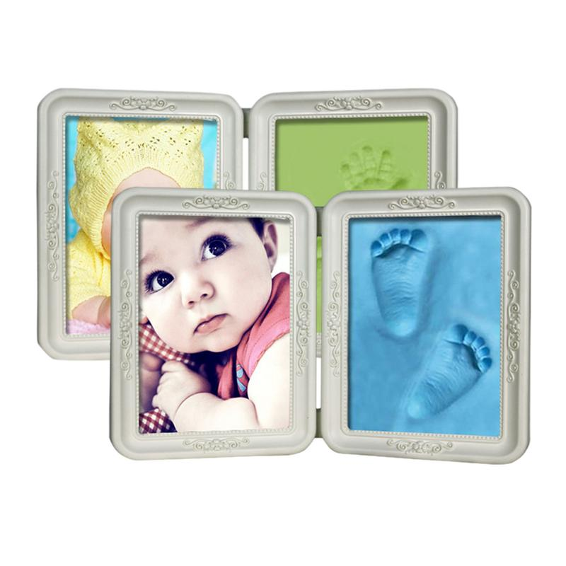European Model Baby Handprint Mud Photo Frame Hand And Foot Print Set Baby Hand And Foot Growth Commemorative Photo Frame