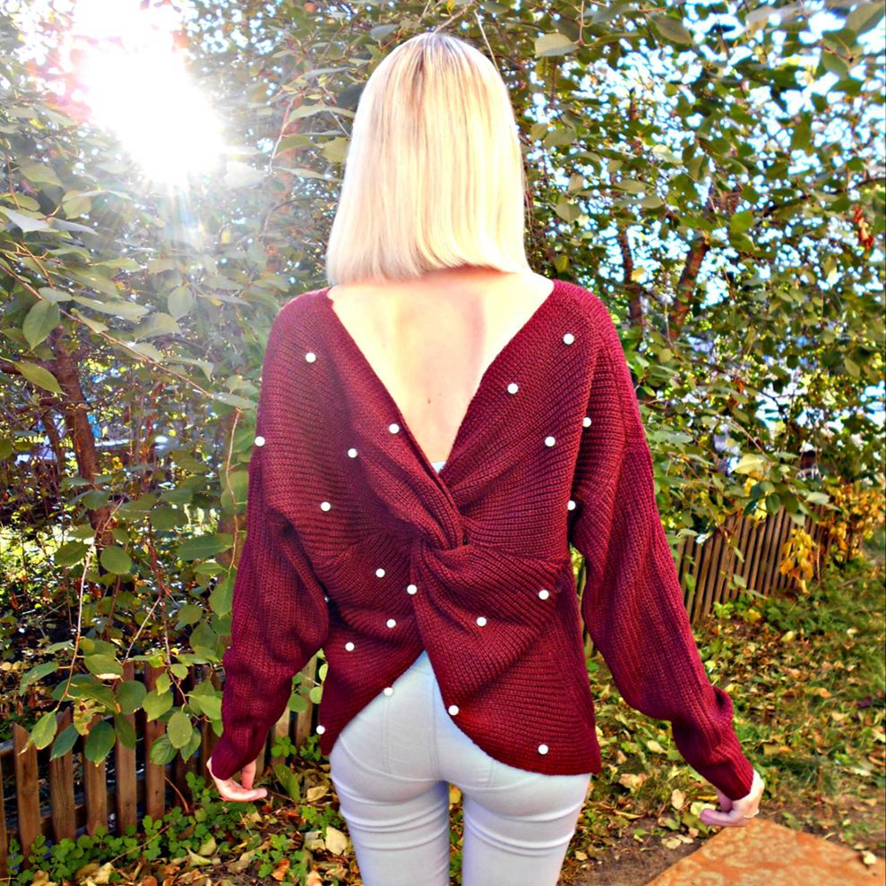 Wipalo Pearl Beading V Neck Twist Sweater Sweet Burgundy Women Pullovers Knit Jumper Long Sleeve Casual Solid Sweater Pull Femme #2