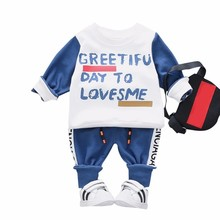 Fashion Baby Boys Girls Cotton Clothing Suits Spring Autumn Children T-shirt Pants 2Pcs/Set Kids Sport Clothes Toddler Tracksuit