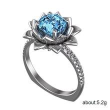 Rings for women Costume jewelry Fashion sea blue  gemstone ring female jewelry brand Halloween inlaid zircon jewelry  B2457