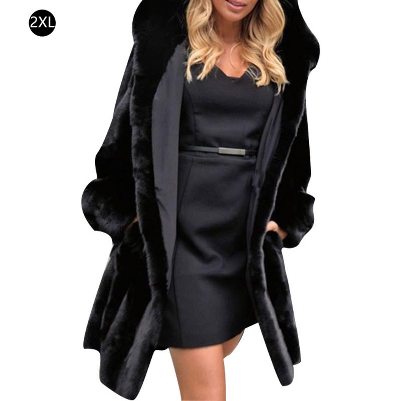 Women Windbreaker Woolen Coat Fake Fur Thick Sweater Oversize Cardigan Coat Jacket Coat Thicken Faux Fur Cotton Coat Black